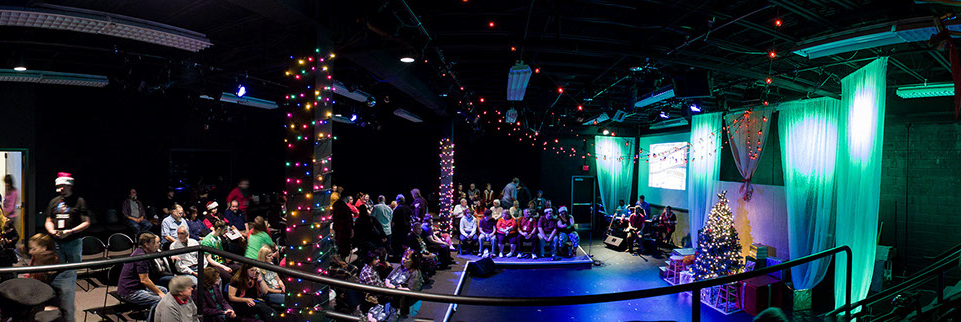 Panorama taken inside a small studio theater prior to a Christmas show.