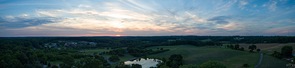 Panorama of a sunset over Windsor Mill, Maryland.
